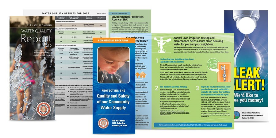 Collage of Drinking Water related brochures