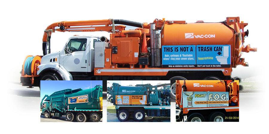 Public Awareness Campaign - Public Outreach Materials - Toilet Trash Recycling and FOG Truck Sticker Collage