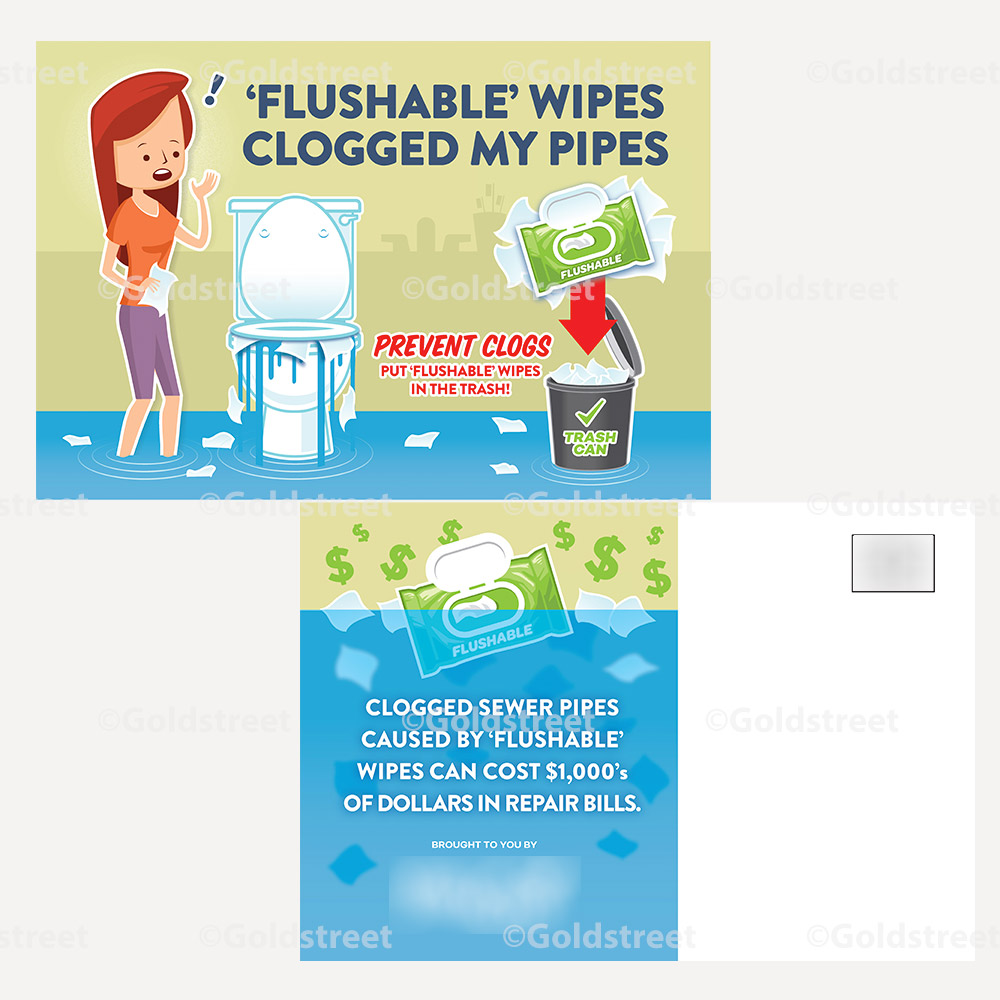 Flushable Wipes Clogged My Pipes Mailer - Public Awareness Campaign - Public Outreach Materials