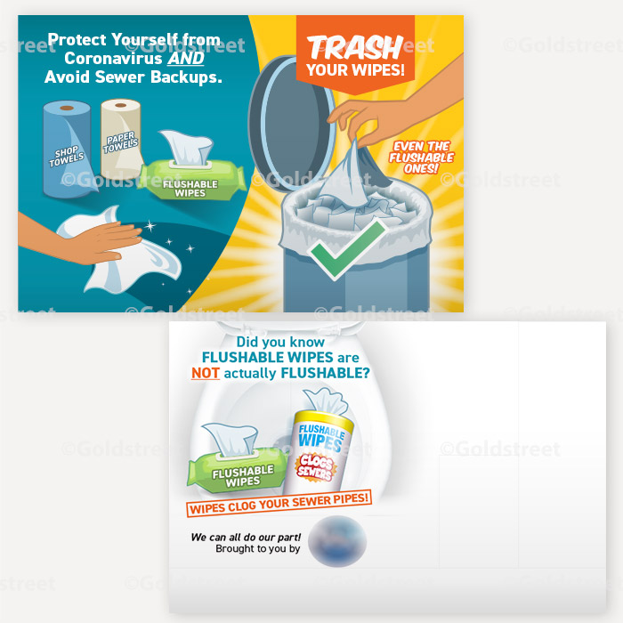 Public Service Announcement Clogged Pipe Alert Toilet Trash Wipes Clog Pipes Postcard