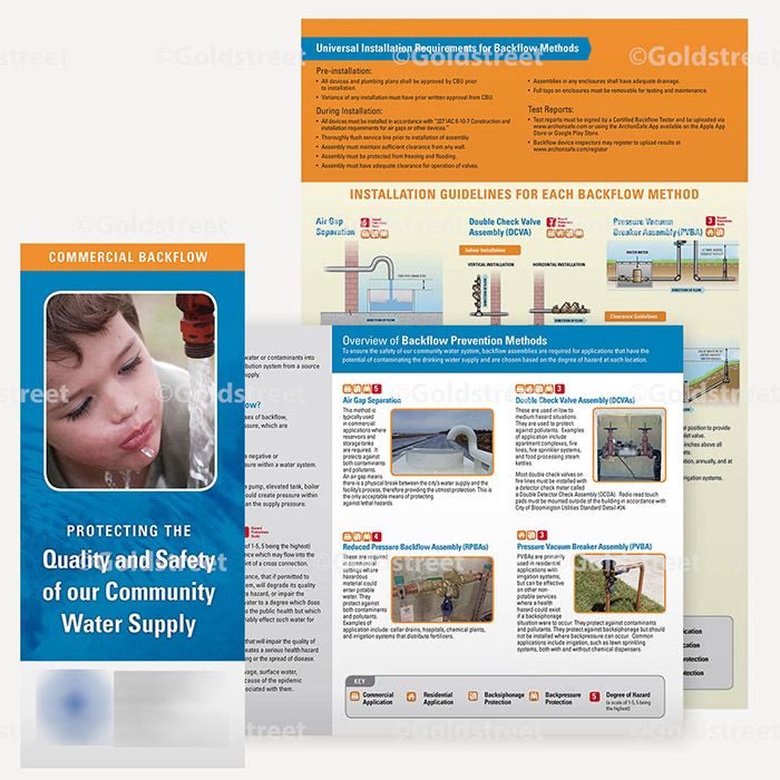 Backflow Commercial Brochure Half Fold Trifold