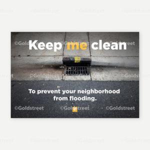 "Public Outreach - Public Awareness - ""Keep me clean"" Stormdrain/Stormwater messaging street sweeper sticker"