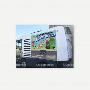 """Public Outreach - Public Awareness - """"Protect Your Drains, Blow To Bins"""" Stormwater street sweeper wrap"""