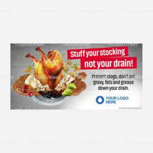 """Public Outreach - Public Awareness - """"Stuff Your Stocking Not Your Drain"""" Holiday FOG (Fats, Oils and Grease) messaging snackable"""