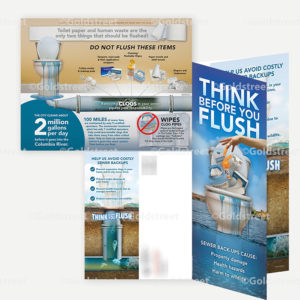 """Public Outreach - Public Awareness - """"Think Before You Flush"""" Toilet Trash and Wipes illustrated Mailer"""