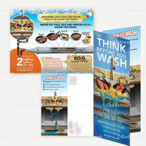 """Public Outreach - Public Awareness - """"Think Before You Wash"""" FOG (Fats Oils and Grease) Awareness Mailer"""