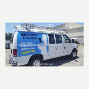 """Public Outreach - Public Awareness - """"This is not a Trash Can"""" """"Think Before You Flush"""" Ford Van Sticker"""