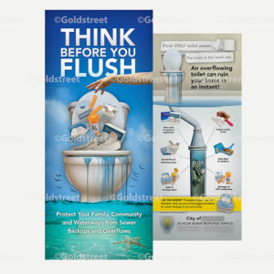 """Public Outreach - Public Awareness - """"Think Before You Flush"""" Toilet Trash Bill-Insert"""