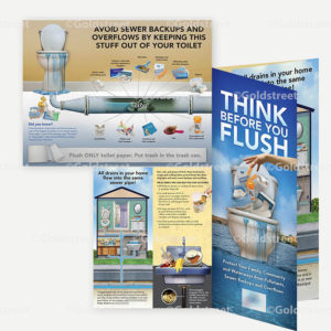 "Public Outreach - Public Awareness - ""Think Before You Flush"" Toilet Trash Brochure"