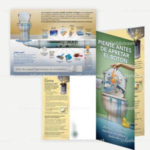 """Public Outreach - Public Awareness - """"Piense Antes De Apretar El Boton"""" toilet trash brochure in Spanish."""