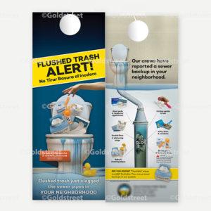 "Public Outreach - Public Awareness - ""Flushed Trash Alert"" Toilet Trash notification door hanger"