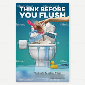 """Public Outreach - Public Awareness - """"Think Before You Flush"""" Magnet"""