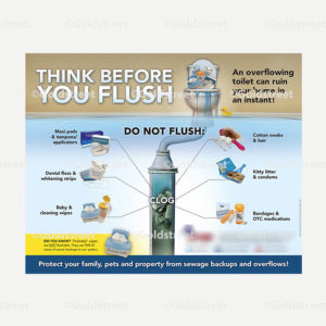 """Public Outreach - Public Awareness - """"Think Before You Flush"""" Newspaper Ad"""