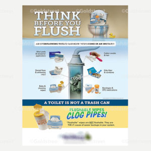 """Public Outreach - Public Awareness - """"Think Before You Flush"""" """"A toilet is Not a Trash Can"""" """"Flushable Wipes Clog Pipes"""" Poster"""