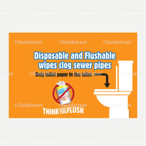 Public Outreach - Public Awareness - Think Before You Flush Toilet Trash and Wipes vehicle magnet