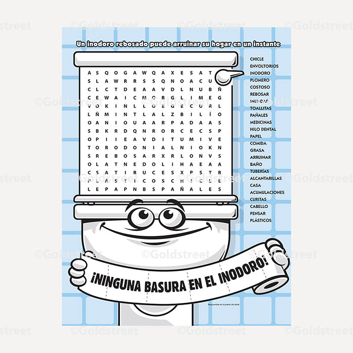 Public Outreach - Public Awareness - Wastewater Kids Word Search 4-6 Spanish