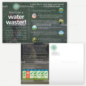 """Public Outreach - Public Awareness - Water Conservation Post Card """"Don't Be a Water Waster"""""""