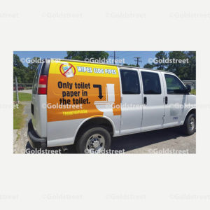 """Public Outreach - Public Awareness - """"Wipes Clog Pipes"""" Chevy Van Sticker"""