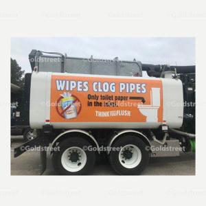Public Outreach - Public Awareness - Wipes Clog Pipes Tanker Truck Sticker