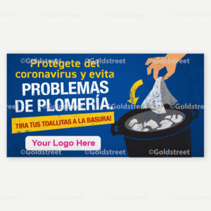 Public Service Announcement Clogged Pipe Alert Toilet Trash Wipes Clog Pipes Spanish