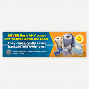COVID-19 Banner Awareness Materials Public Service Announcment Toilet Trash and Wipes