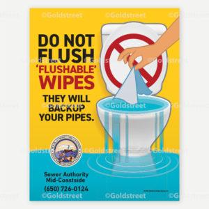 """Don't Flush Flushable Wipes"" Sticker"