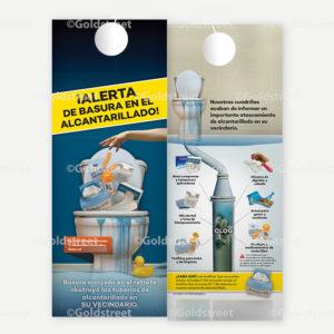 Spanish Flushed Trash Alert - Door Hanger